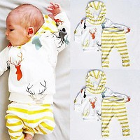 2016 new fall autumn Newborn Baby Boy Girls Clothes Cute Tops Deer Hooded + Striped Long Trousers 2pcs Outfit Kids Clothing Set