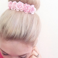 Belle Rose in Ballerina Pink, Flower Crown, Bun Crown, Womens Accessories, Vintage Style, Shabby chic, Wedding Accessories