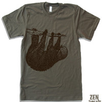 Mens Tree SLOTH T Shirt american apparel S M L XL (11 Colors Available)