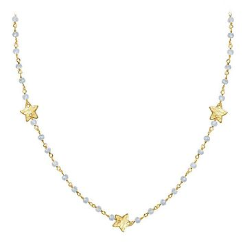 """CHG-198-RM-18"""" 18K Gold Overlay Necklace With Rainbow Moonstone"""