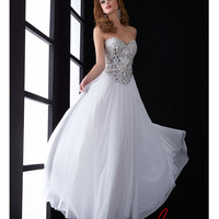 (PRE-ORDER) Jasz Couture 2014 Prom Dresses - White Chiffon & Beaded Basque Prom Gown