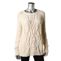 Aqua Womens Cable Knit Long Sleeves Pullover Sweater