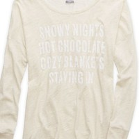 Aerie Women's Heathered Graphic T-shirt (Heather Frost)