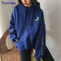 Spring Women Brand Sweatshirts Kawaii Hooded Hoody Pullovers Sun Moon Cloud Embroidered Cute Thick Harajuku Hoodies Fleece Tops