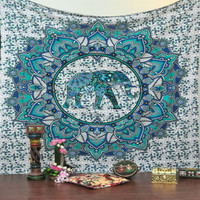 Lucky elephant mandala tapestry hippie wall hangings tapestry decor outdoor picnic mat towel square colorful sofa/bed cover