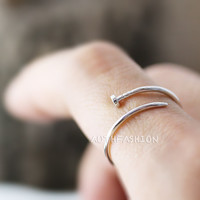 Simple Slim Nail Ring Unique Funny Ring Jewelry Silver Plated Ring gift idea