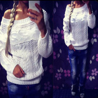 One Shoulder Long Sleeve Cut Out Knitted Sweater