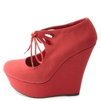Cut-Out Lace-Up Mary Jane Platform Wedges by Charlotte Russe - Red