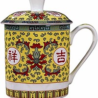 BandTie Convenient Travel Home Office Chinese Gongfu Loose Leaf Tea/Coffee Brewing System- Bone China Porcelain Tea Cup/Coffee Cup/Tea Mug/Coffee Mug Personal Teacup with Cup Lid (Ji Xiang Ru YI)