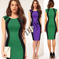 Women's Splicing Color Fitted Cocktail Party Pencil Dress 19377