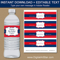 Red and Navy Party Decorations - Birthday Water Bottle Labels - Birthday Bottle Labels - Printable Birthday Party Favor - Birthday Labels B2