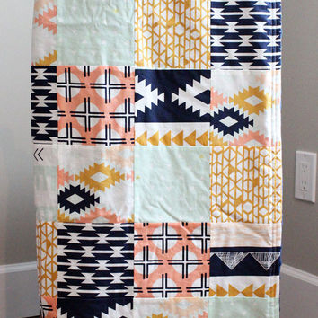 Patchwork Baby Blanket - Navy, Peach, Mint and Gold Baby Quilt