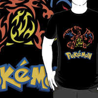 charizard pokemon anime manga custom black tshirt t-shirt