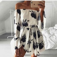 2017 Women Summer Beach Floral Boho Dress Loose Printing Sexy Off the Shoulder Flare Sleeve Empire Flash neck Mini Dress
