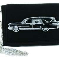Undertaker Hearse Funeral Car Tri-fold Wallet w/ Chain Goth