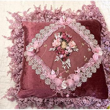 Romantic Victorian Dark Pink Cameo Lace Rose Adorned Square Pillow