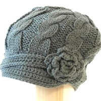 Womens Hand Knitted Beanie Newsboy Hat with Short Soft Visor with Side Flower Embellishment