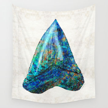 Blue Shark Tooth Art by Sharon Cummings Wall Tapestry by Sharon Cummings