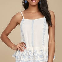 Poetic Light Beige Embroidered Top