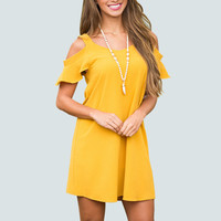 Casual off shoulder yellow dress