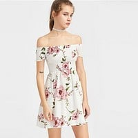 Fashion Flower Print Off Shoulder Short Sleeve High Waist Mini Dress