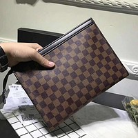 LV new fashion men's hand bag large clutch men hand bag mobile phone bag tide Coffee