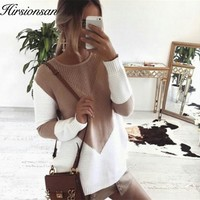 Hirsionsan Autumn Patchwork Sweater Women 2017 Knitted Women Sweaters and Pullovers Loose Jumper Hollow Out Split Sweater