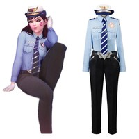 Overwatches Cosplay D.VA DVA Hana Song Police Officer Carnival Uniform Cosplay Costume