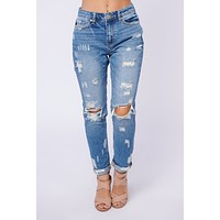 Well Noted Distressed KanCan Jeans (Medium Wash)
