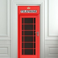 "Door wall sticker London Telephone Box self-adhesive poster, mural, decole, film 30x79"" (77x200 cm)"