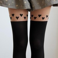 Faux Thigh High Stockings with Hearts from Jinx Me