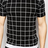 Antioch Longline T-Shirt With Grid Print at asos.com