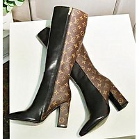 LV Louis Vuitton Fashion New Monogram Print Leather High Quality Long Boots High Heels