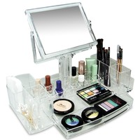 Luxury Cosmetic Makeup Acrylic Organizer With Two Sided Mirror