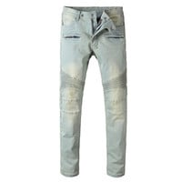 Light Slim Denim Biker Jeans