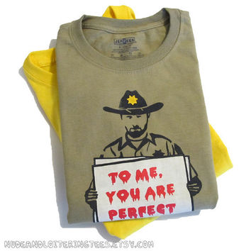 Walking Dead Shirt - Rick Grimes Love Actually Mashup (Choose Your Size - Youth & Adult) Zombies Gift for Him