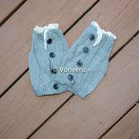 Gray Knitted Boot Cuffs with Lace & Buttons, Holiday Boot Topper Stocking Stuffer