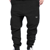 Drop Crotch Joggers: Black