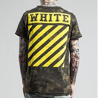 Off White New fashion letter stripe print camouflage couple top t-shirt Yellow
