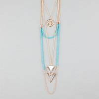 Full Tilt 3 Row Coin/Triangle/Beaded Necklace Gold One Size For Women 26115562101