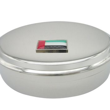 Thin Bordered United Arab Emirates UAE Flag Pendant Oval Trinket Jewelry Box