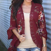 Floral Red Irregular Cardigans with Lace Trim and Details