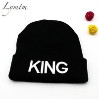 Sports Hat Cap trendy  [Lymtm] 2018 KING QUEEN Embroidery Couple Beanies Ski Sports Warm Knitted Cap Hip Hop Men Women Lovers Hats Outdoor Skullies KO_16_1
