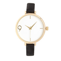 FOREVER 21 Faux Leather Analog Watch Black/Gold One