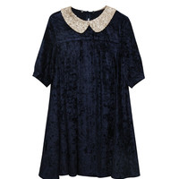 Velvet Spangle Collar Dress - THE WHITEPEPPER