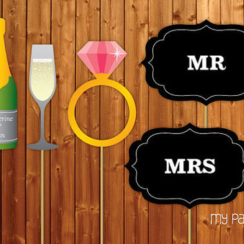 Printable Photo Booth Props On a Stick - Wedding collection