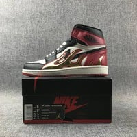 "Nike AIR JORDAN 1 Retro High OG ""BLack Toe"" AJ1 Men Fashion Running Sport Basketball Shoes Red Size 40-47"