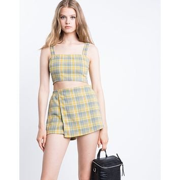 Cher Yellow Plaid Crop Top