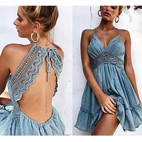 Rosetta Blue Detailed Boho Dress