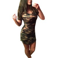 2017 Summer Camouflage Printed Women Dress Casual Female New Brand Lady Mini Dresses